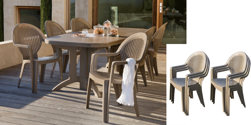 Chaise de jardin plastique taupe - veranda-styledevie.fr