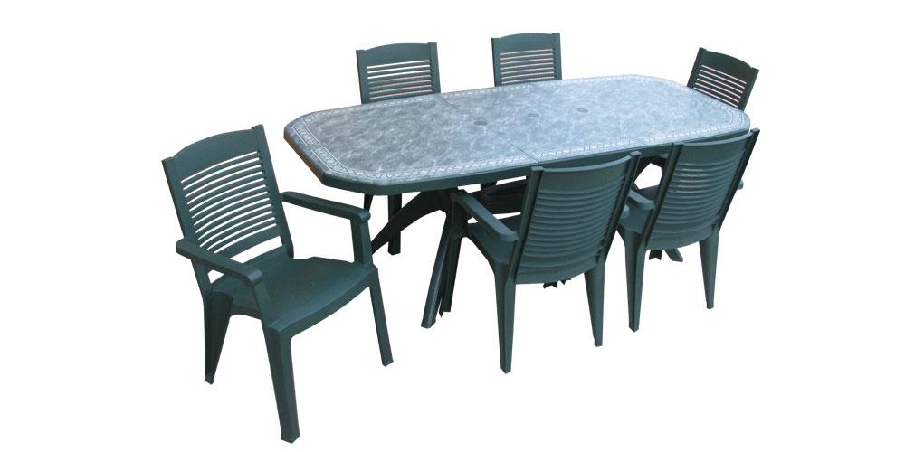 Chaise verte salon de jardin - veranda-styledevie.fr