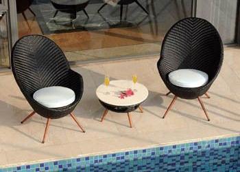 Chaise jardin rotin tresse - veranda-styledevie.fr