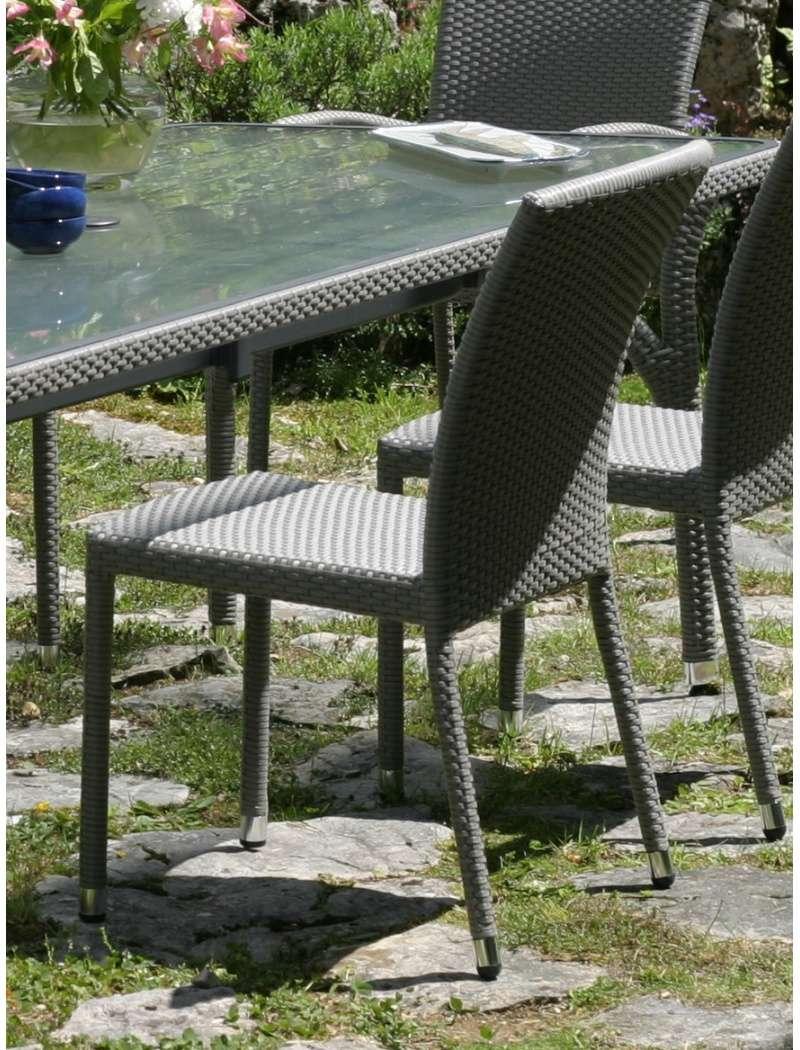Chaise de jardin resine tressee gris - veranda-styledevie.fr