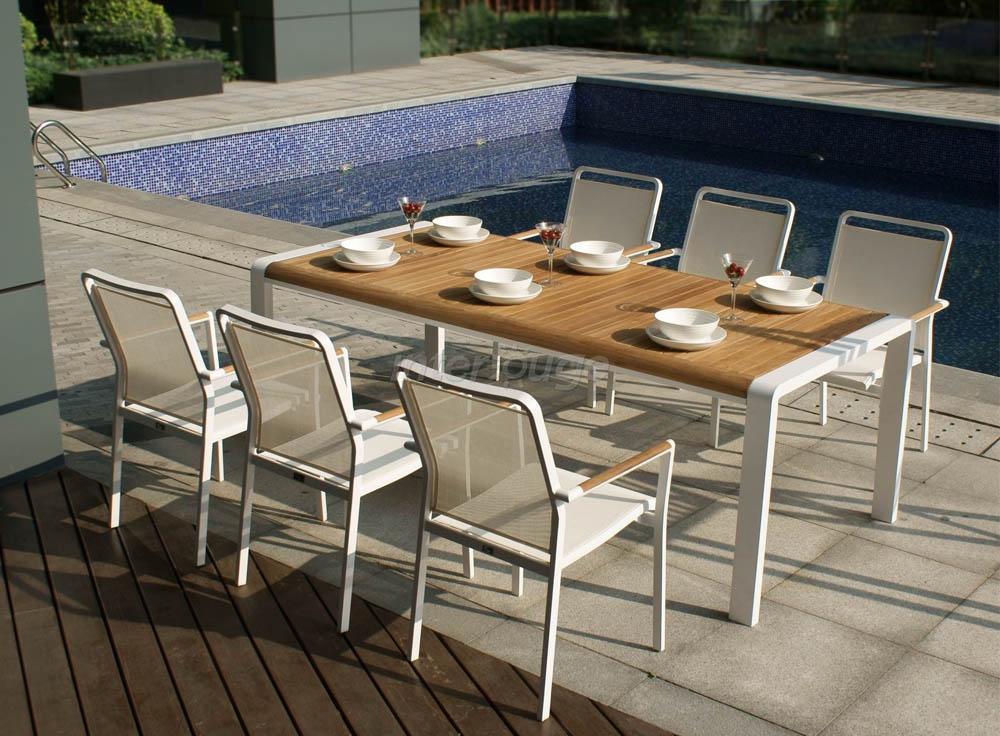 Table et chaise de jardin en teck - veranda-styledevie.fr