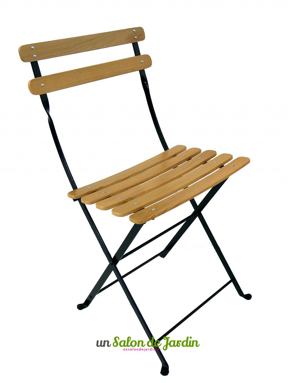 Chaise pliante bois et fer forgé - veranda-styledevie.fr