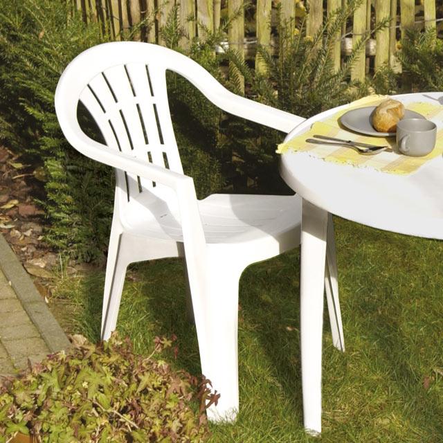 Table et chaise de jardin plastique blanc - veranda-styledevie.fr