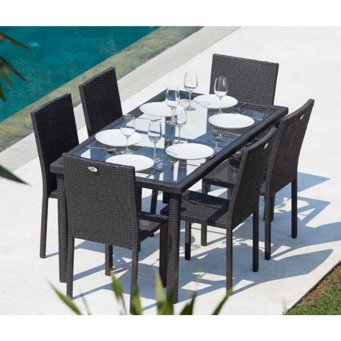 Table et chaise de jardin tresse gris - veranda-styledevie.fr