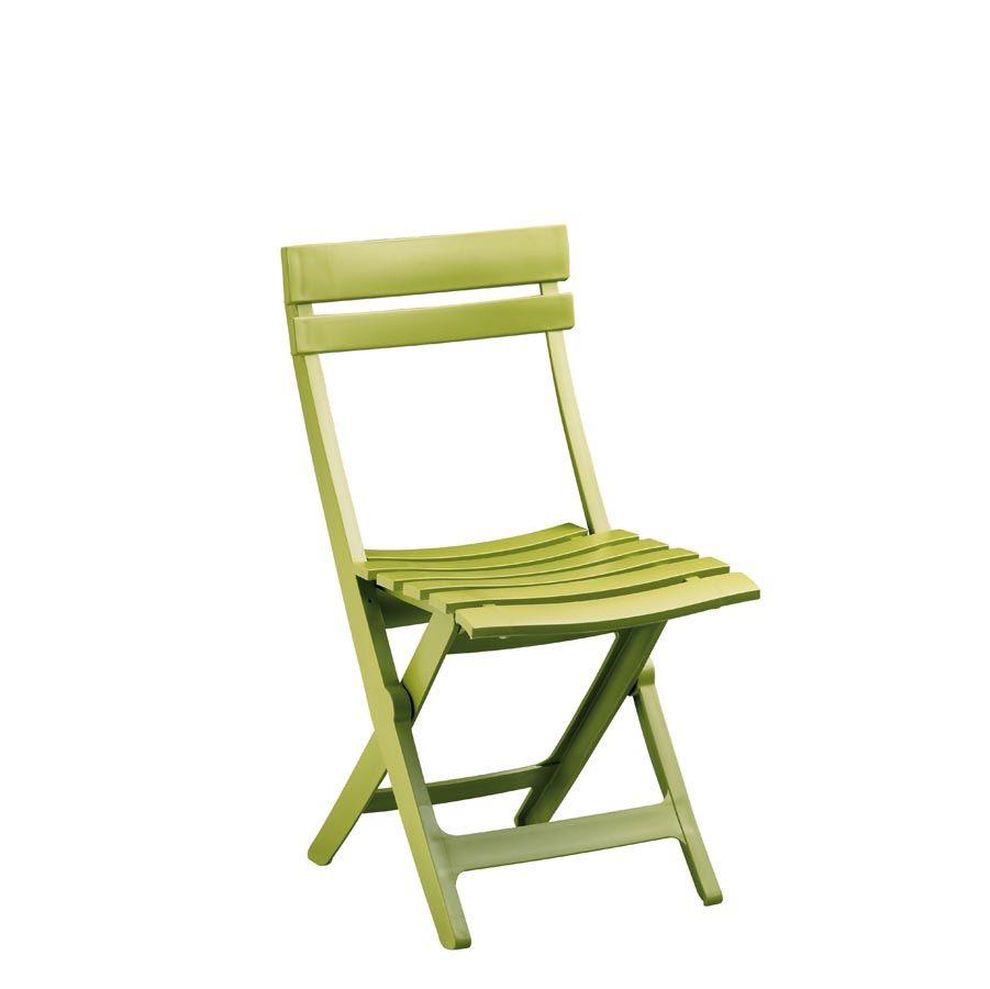 Chaise de jardin grosfillex vert anis - veranda-styledevie.fr