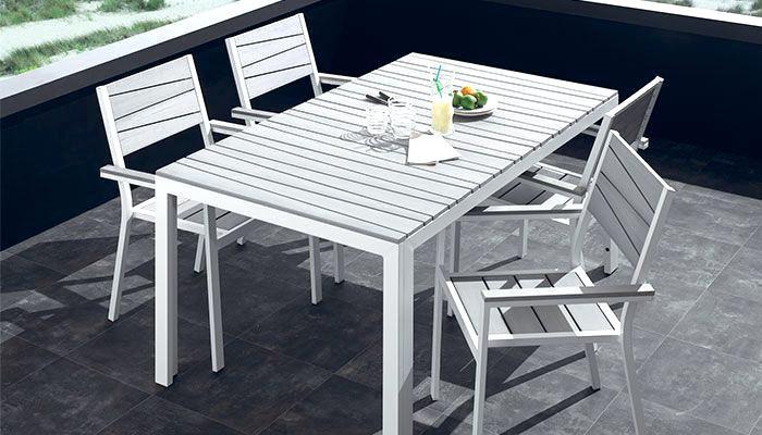 Table et chaises de jardin aluminium blanc - veranda-styledevie.fr
