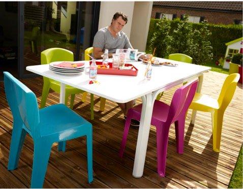 Table chaise jardin en plastique - veranda-styledevie.fr
