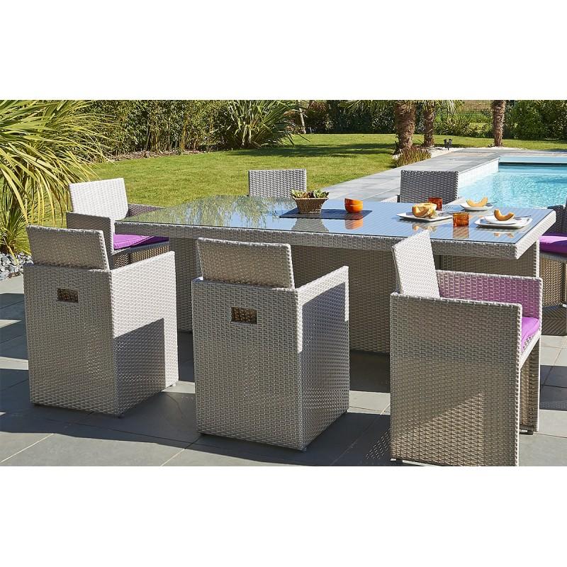 Table et chaise de jardin en resine tressee gris - veranda ...