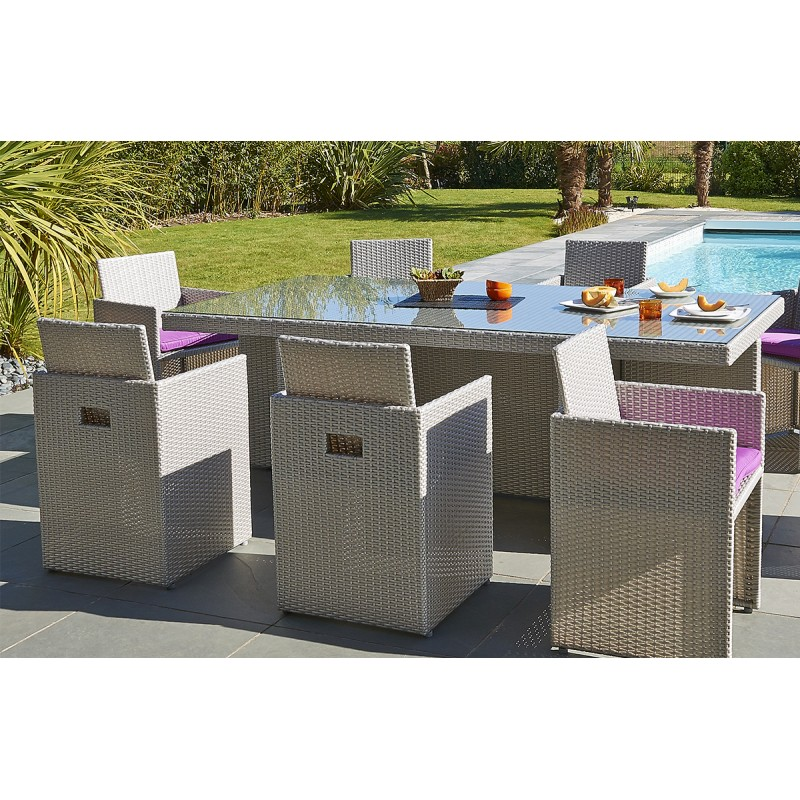 Table et chaise de jardin en resine tressee gris - veranda-styledevie.fr