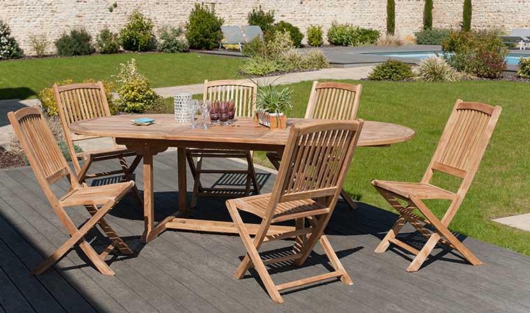 Ensemble table et chaise de jardin en teck - veranda ...