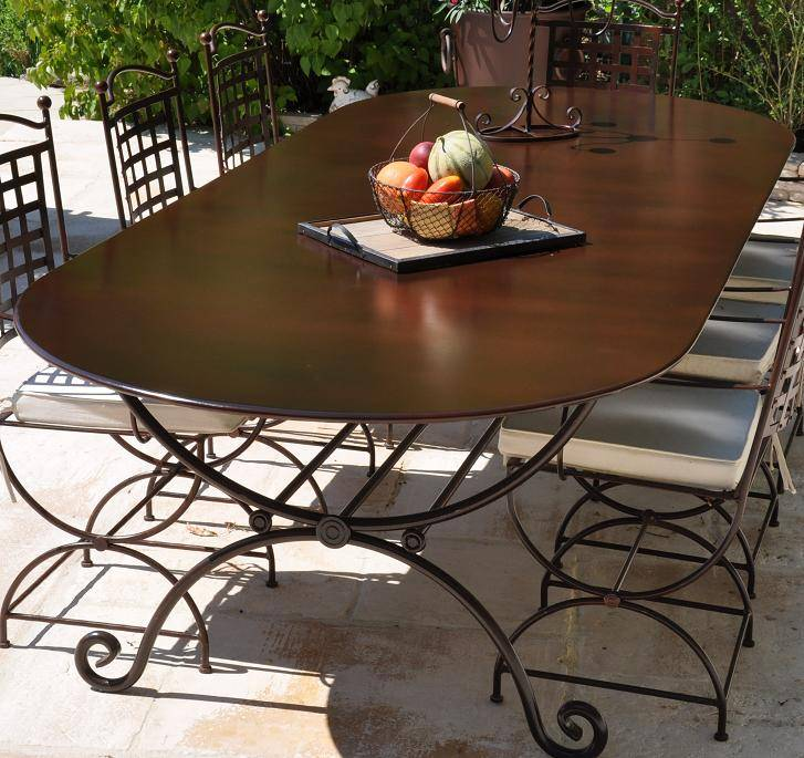 Ensemble table et chaise de jardin en fer forgé - veranda-styledevie.fr