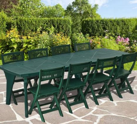 Table et chaise de jardin plastique vert - veranda-styledevie.fr