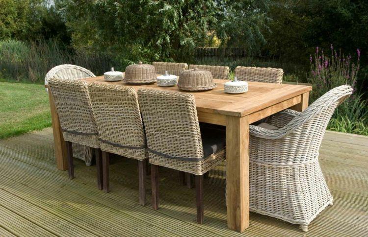 Table et chaise jardin en bois - veranda-styledevie.fr