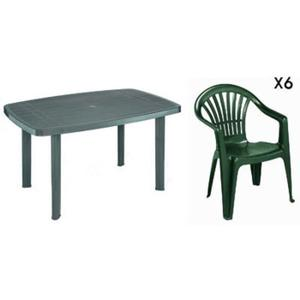 Chaise de salon de jardin en plastique vert - veranda-styledevie.fr