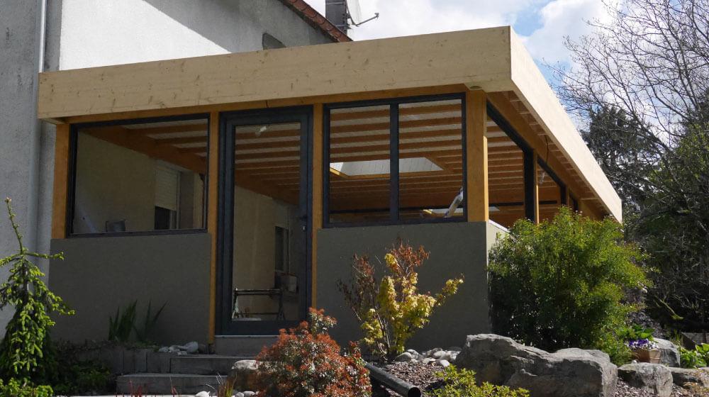 veranda en bois toit plat veranda. Black Bedroom Furniture Sets. Home Design Ideas