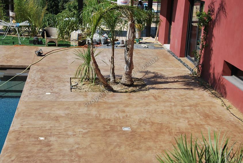 terrasse exterieur beton cir veranda. Black Bedroom Furniture Sets. Home Design Ideas