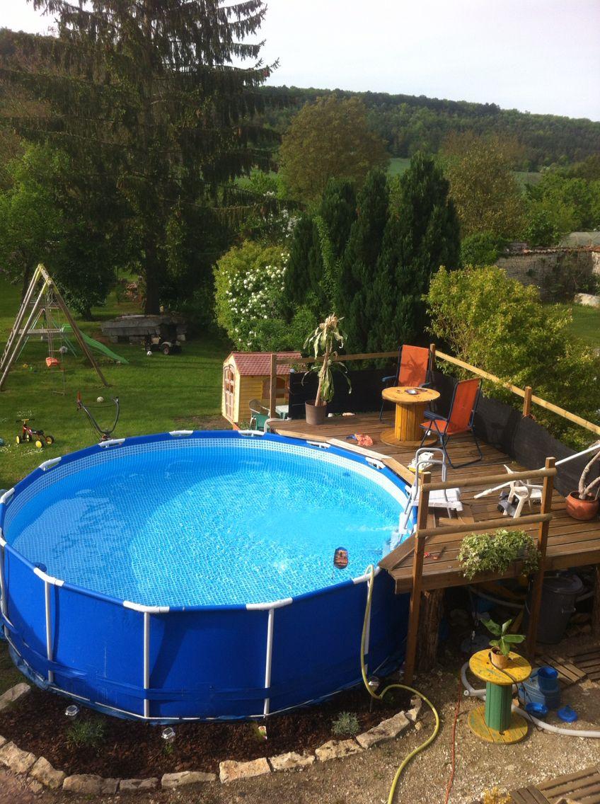 Idee terrasse piscine hors sol veranda - Amenagement exterieur piscine hors sol ...
