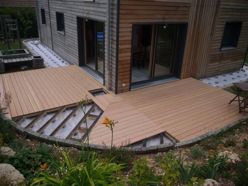 Terrasse arrondie sur plot veranda - Maison bois sur plots ...