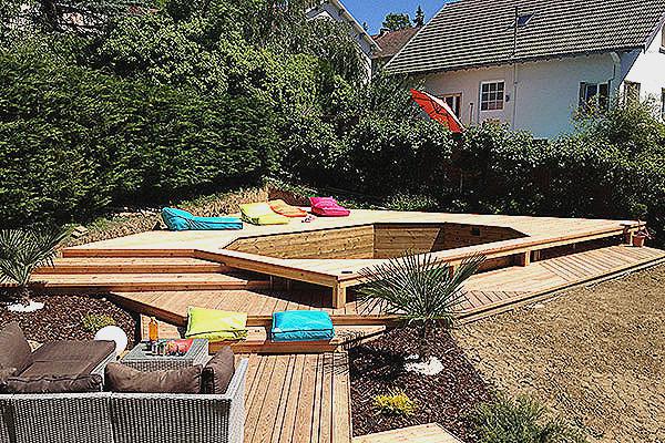Terrasse autour d 39 une piscine tubulaire veranda - Amenagement autour d une piscine ...