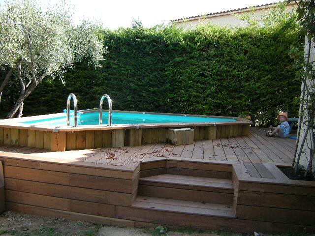 Terrasse autour piscine hors sol bois veranda - Piscine bois hors sol terrasse ...
