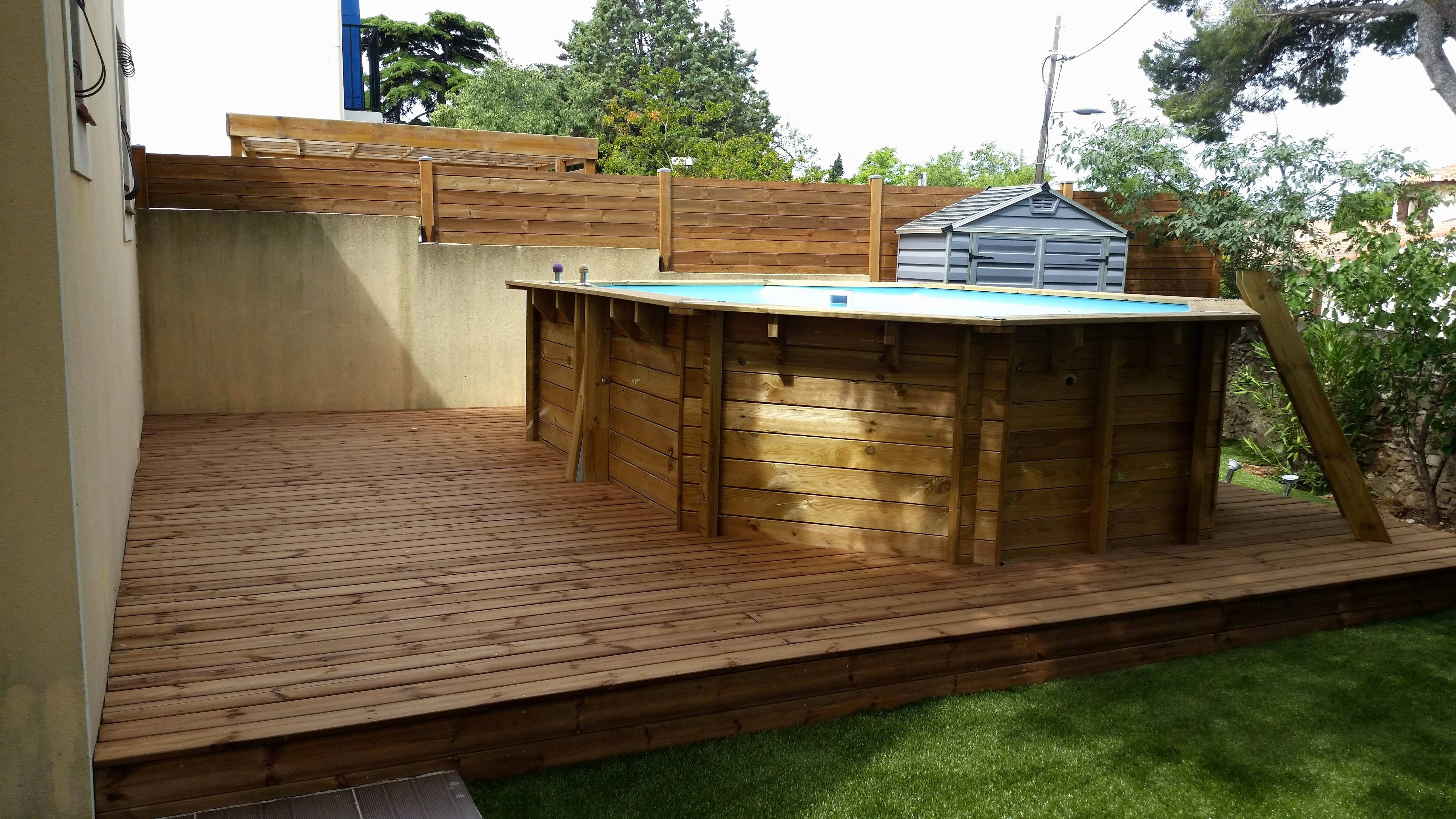 Amenagement terrasse avec piscine hors sol veranda - Piscine hors sol avec escalier interieur ...