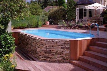 Amenagement terrasse bois piscine hors sol - veranda-styledevie.fr