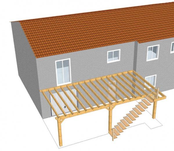 plan d 39 une terrasse en bois sur pilotis veranda. Black Bedroom Furniture Sets. Home Design Ideas