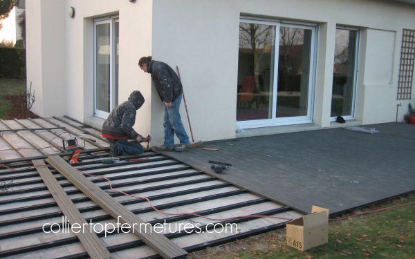 terrasse composite sur terrasse carrelage veranda. Black Bedroom Furniture Sets. Home Design Ideas