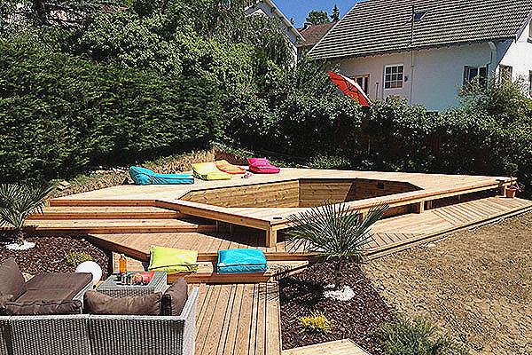 Terrasse bois piscine hors sol veranda - Piscine hors sol bricomarche ...